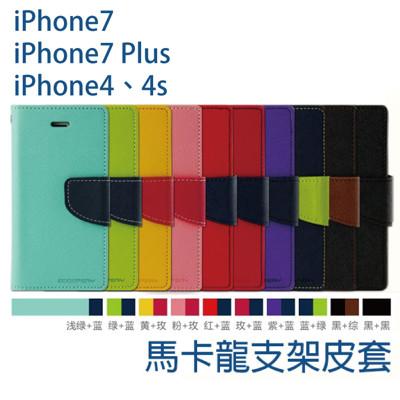 馬卡龍撞色側掀皮套(10色)iPhone7/iPhone7 Plus/iPhone4、4S (1.3折)
