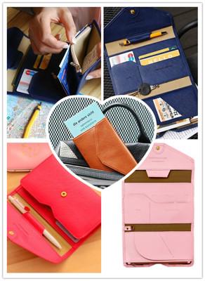 多功能收納夾層護照皮夾 (3折)