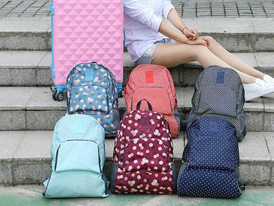 韓版旅行多功能繽紛花色可折疊雙肩背包 (3.4折)