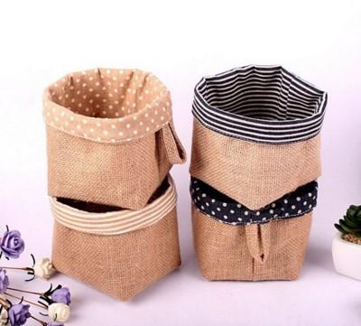 布藝棉麻收納掛袋  桌面圓形收納置物籃  花盆套 (6.2折)