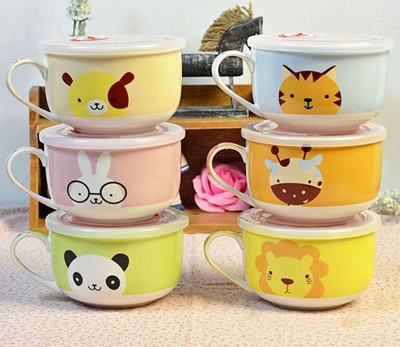 可愛動物泡麵碗 陶瓷杯碗帶蓋 密封碗 (4.8折)