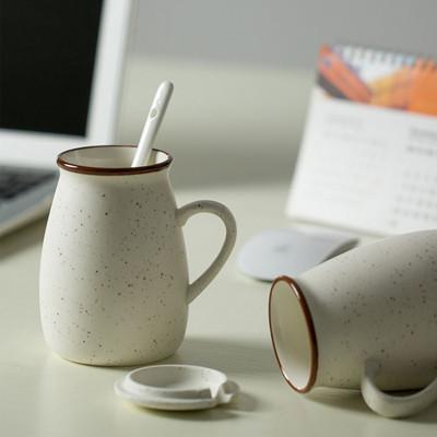 Zakka滿天星陶瓷杯 復古乳白色陶瓷杯 付鐵湯匙 (6折)