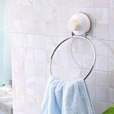 強力吸盤圓環金屬毛巾置物架 (3折)