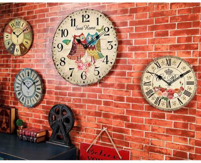 歐式簡約復古木質掛鐘 (2.3折)