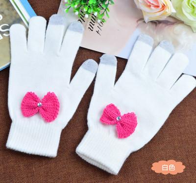 純色素雅針織保暖觸控手套 (1.5折)