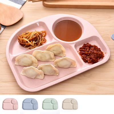 天然小麥梗環保半圓四分隔餐盤 (2折)