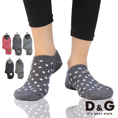 D&G點點直角女船襪-D338 (襪子/短襪/低口襪) (5.6折)
