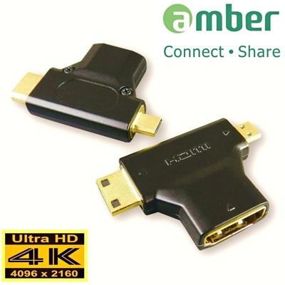 amber 4K HDMI 1.4版 mini HDMI/micro HDMI轉HDMI轉接頭 (4.1折)