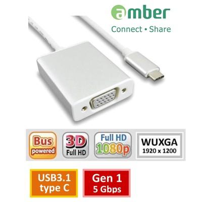 amber  USB 3.1 type C轉VGA訊號轉接線材 支援NEW Macbook (4.2折)