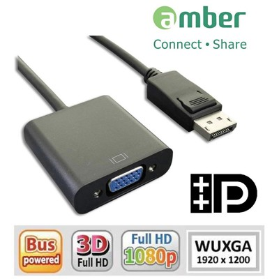 amber DisplayPort 轉VGA訊號轉換器 DP轉VGA螢幕線 支援聯想 DP顯卡 (4.5折)