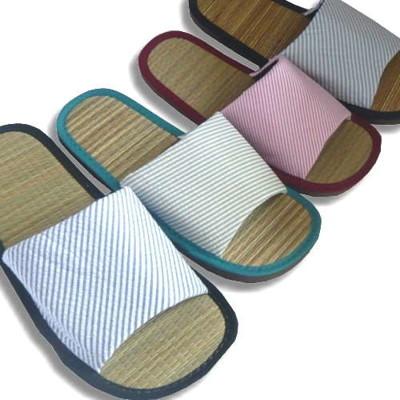 (e鞋院) [光采亮麗-時尚條紋]藺草室內拖鞋 (2.6折)