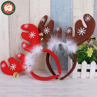 聖誕鈴噹麋鹿角髮箍(帶羽毛)(多款可以挑選)(大人小孩皆可戴) (3.9折)