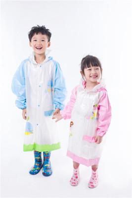 JIESON新款兒童書包位珠光透明雨衣 加大帽沿 安全反光條 環保雨衣 四色 NO24-1 (7.2折)