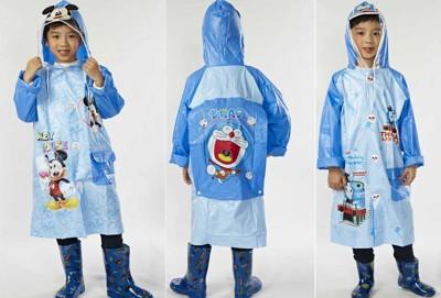 卡通圖案 KT 米奇 多啦A夢 小火車有書包位雨衣 兒童雨衣 男生款 (7.2折)