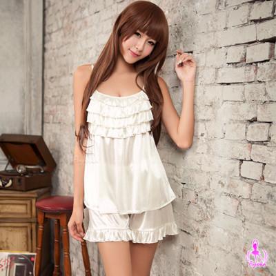 星光密碼【J033】清新純白二件式睡衣+短褲情趣性感睡衣 (2.2折)