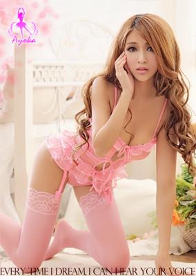 星光密碼【F008】粉紅色網紗三件式性感馬甲睡衣情趣睡衣 (2.8折)