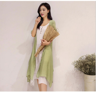 兩件式套裝 舒適棉麻洋裝 長版背心 (3.9折)