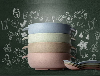 【JANET全球通】小麥兒童餐具碗 隔熱防燙碗 米飯碗 兒童小麥湯匙 勺子 餐具套装 (1.2折)