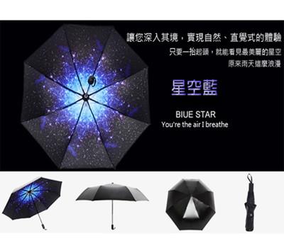黑膠抗UV超防曬摺疊夢幻星空傘 (3.6折)