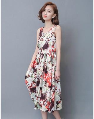 洋裝 夏日彩陽大花棉麻長洋裝--圓領款-Melee (6折)