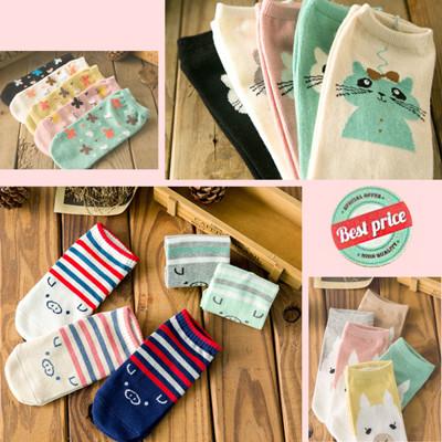 韓版可愛造型棉柔短襪 (1.1折)