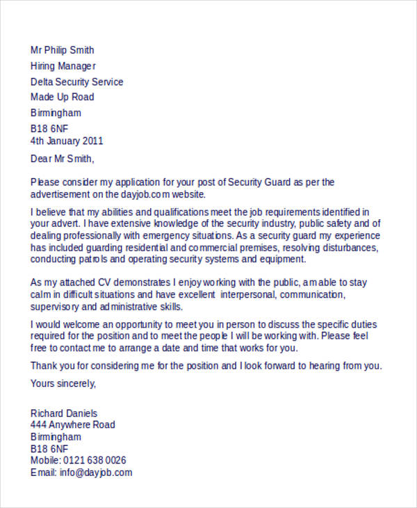 Sample Appointment Letter For Security Guard Pdf Peatix