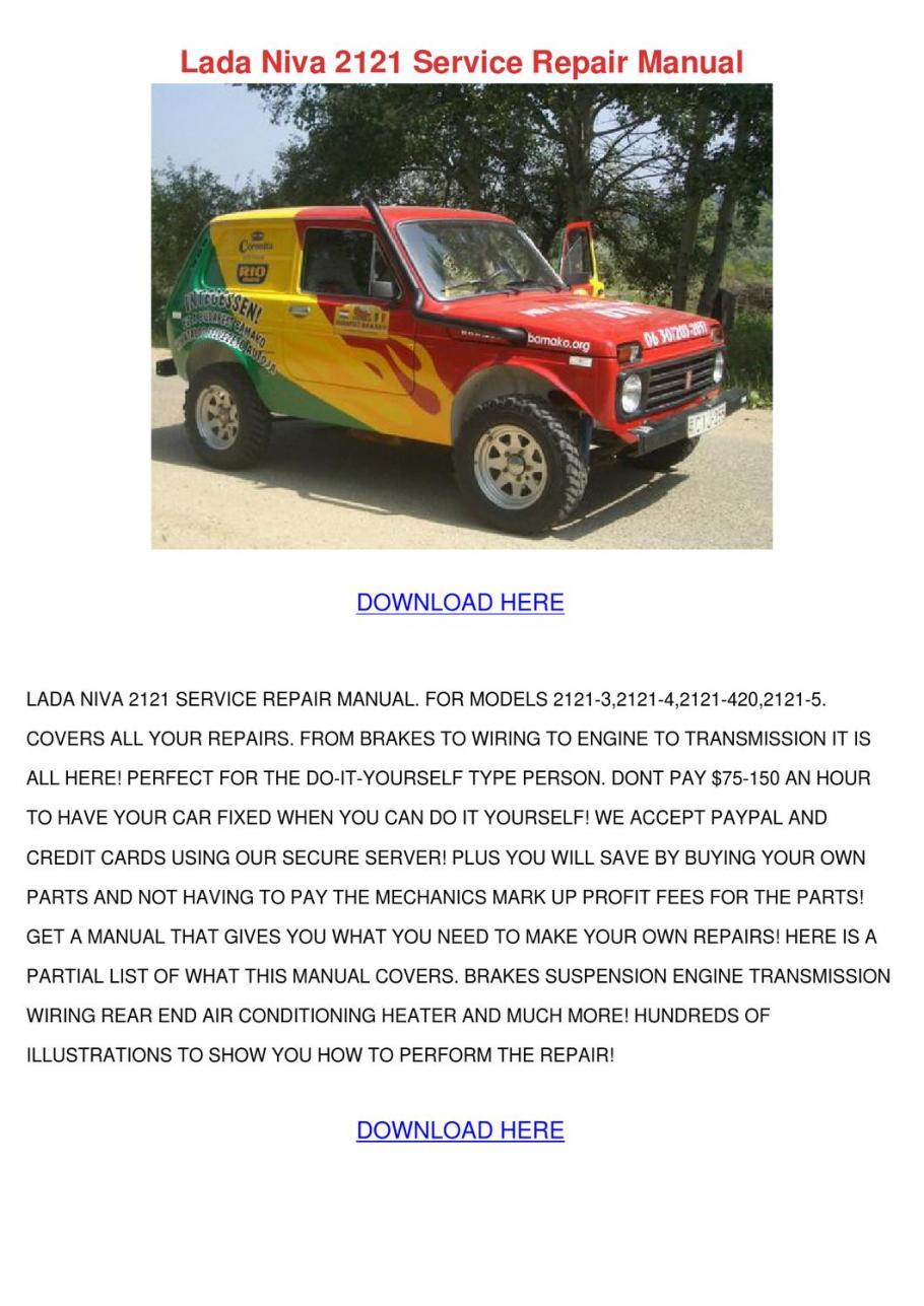 21215 in English 21213 Service MANUAL//Repair Manual LADA NIVA 2121 21214