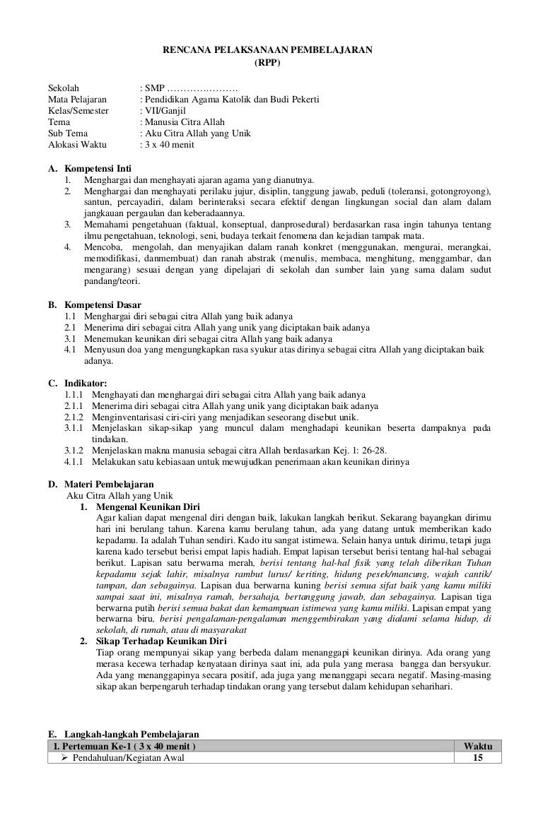 Full Model Silabus Rpp Agama Katolik Sd Kelas 1 6 Peatix
