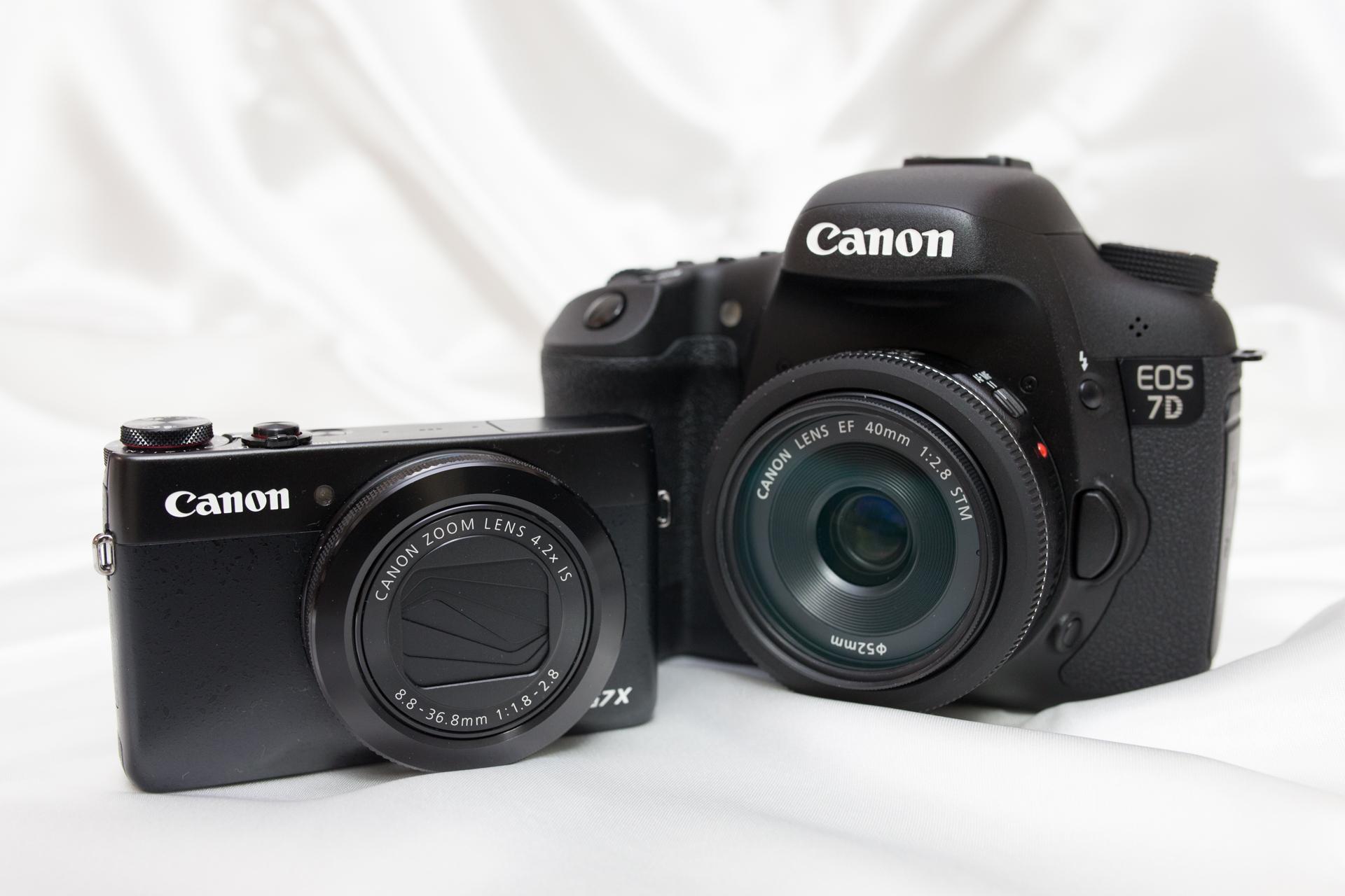 大型センサーを搭載したコンパクトデジタルカメラと一眼レフカメラ