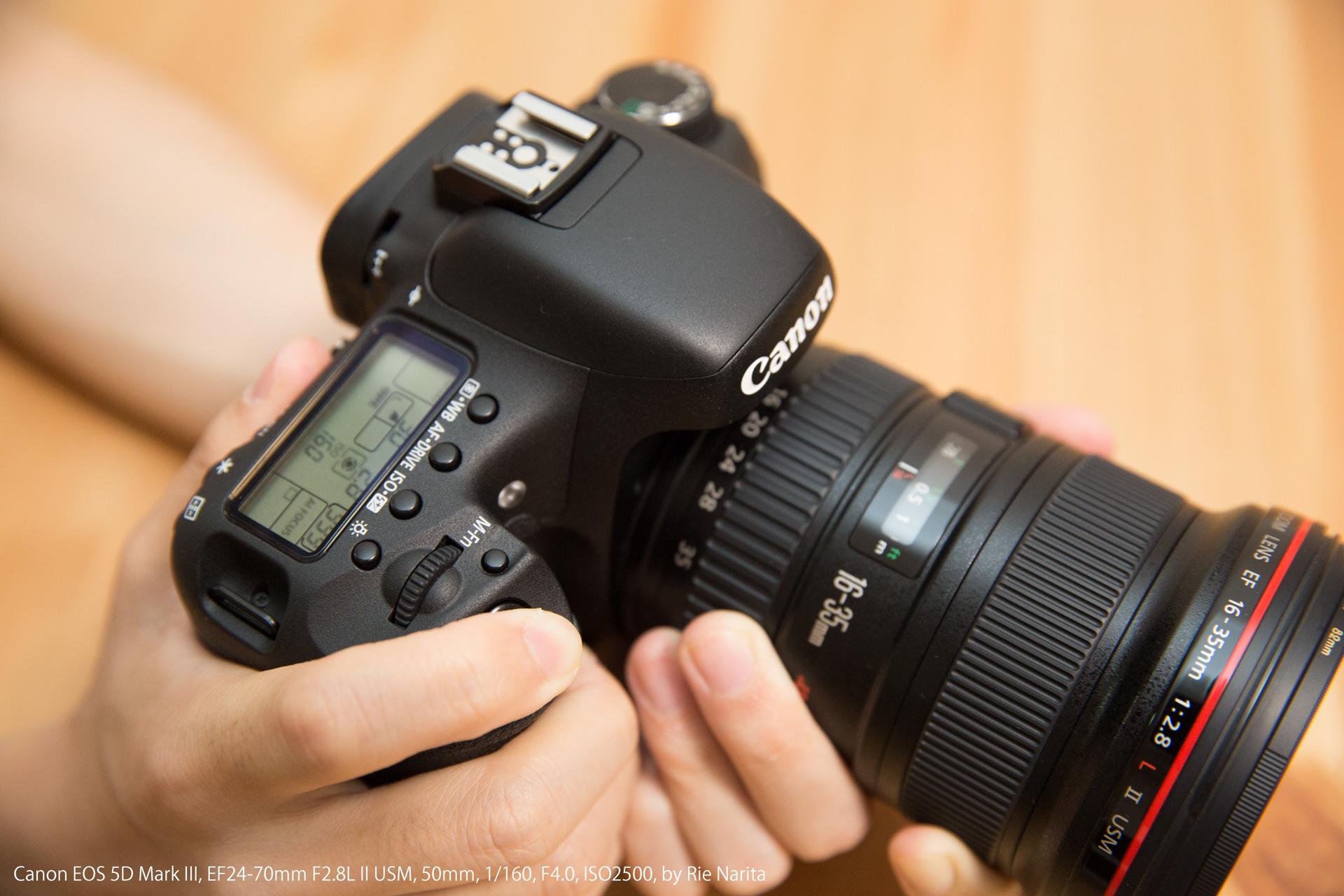 一眼レフカメラのシャッターボタンを半押ししてピントを合わせているところ