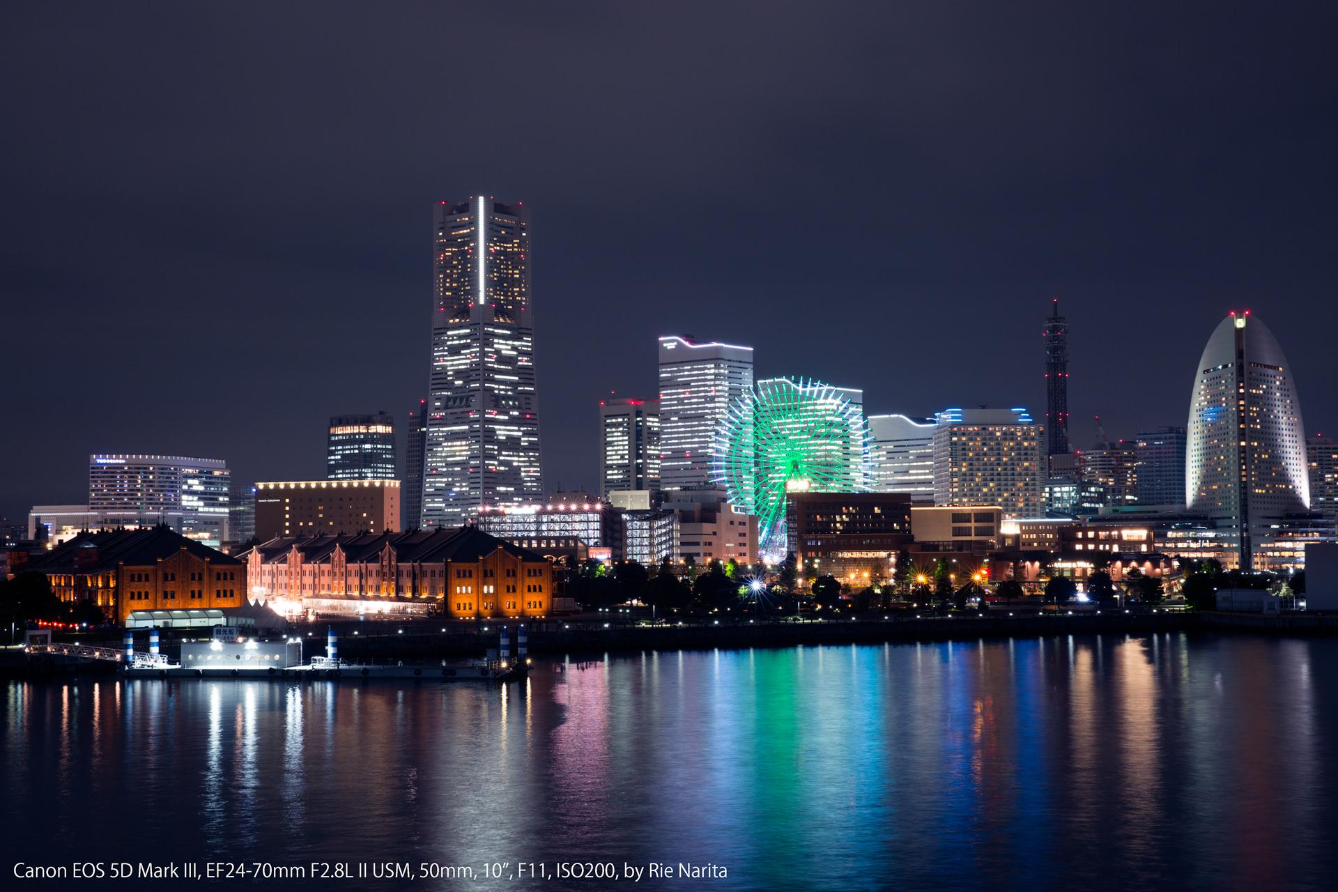 絞り込んで撮影した横浜みなとみらいの夜景(F11)