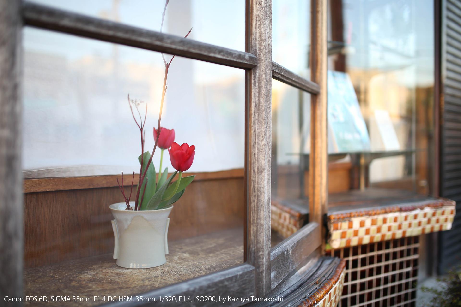 出窓に飾られた花瓶(絞り優先AEのサンプル)