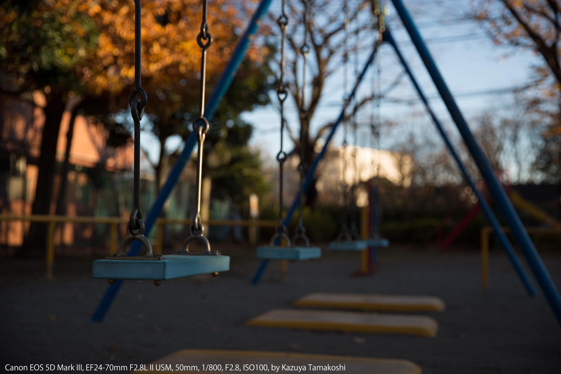 公園のブランコ(露出補正マイナス1段)