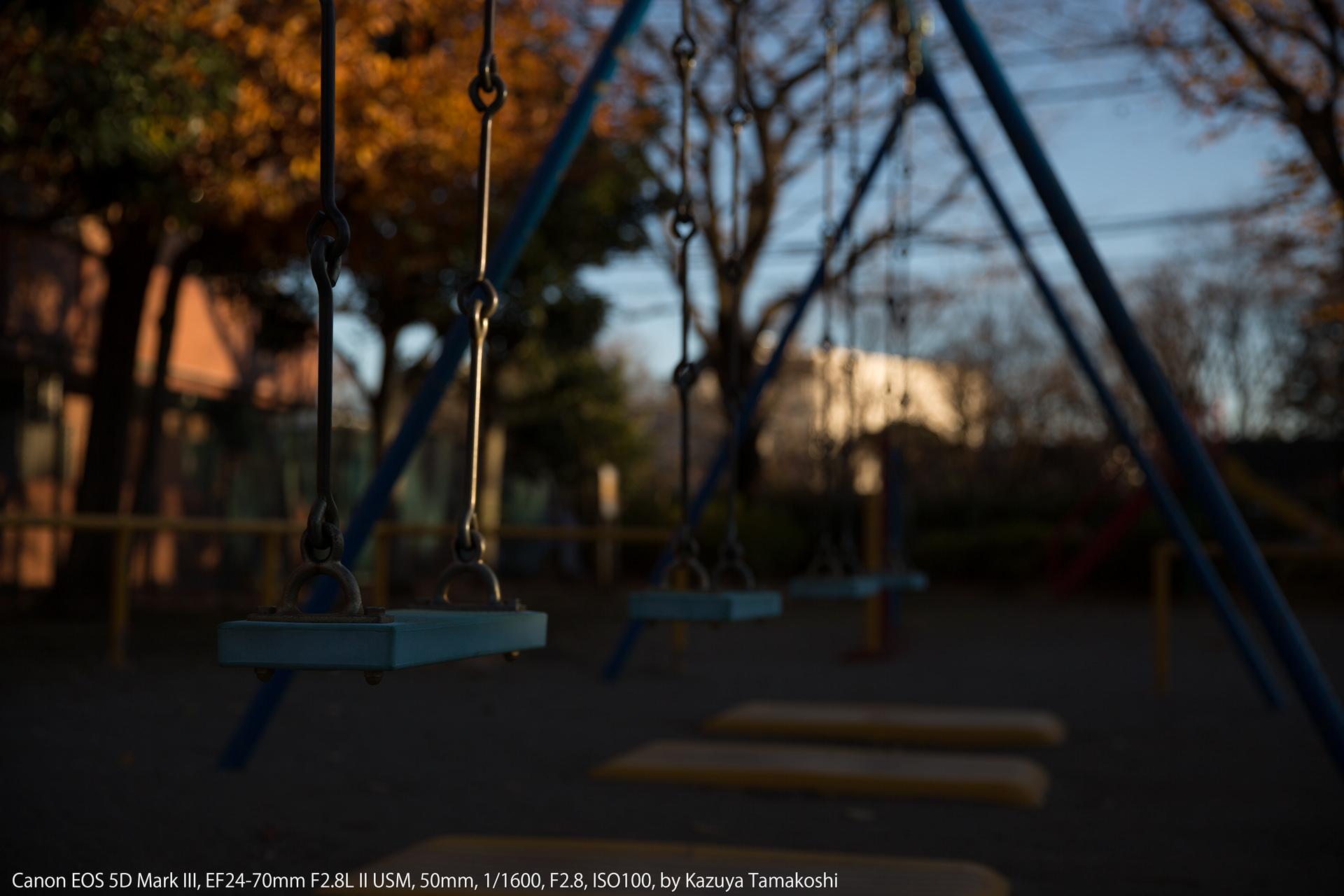 公園のブランコ(露出補正マイナス2段)