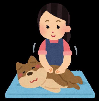 ベッドでマッサージを受ける犬のイラスト