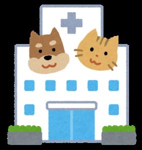 犬と猫と病院のイラスト
