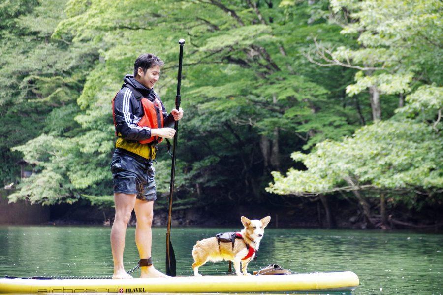 那須で犬とカヤック、SUP
