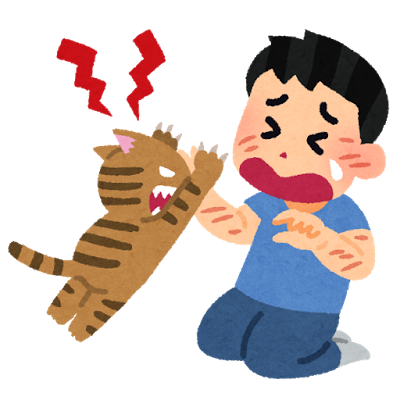 爪の長い猫に顔や腕を引っ掻かれてしまった男性のイラスト
