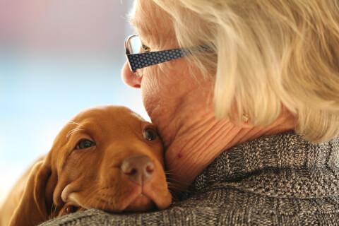 犬とハグする高齢女性