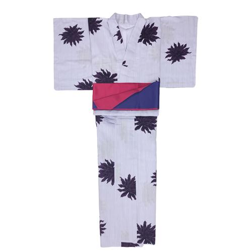 浴衣 ダリア 紫(半幅帯付き)