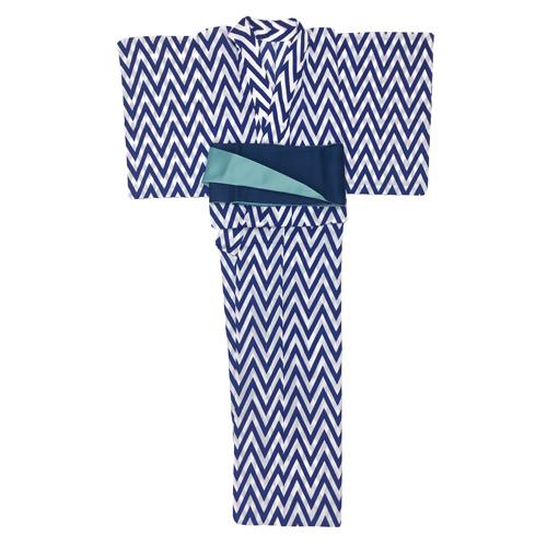 浴衣 ヘリンボーン 青(半幅帯付き)