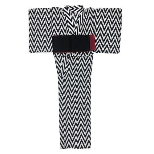 浴衣 ヘリンボーン 黒(半幅帯付き)