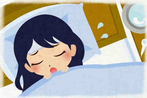 彼女は風邪を引いていたので、一日中寝ていた。の英作文