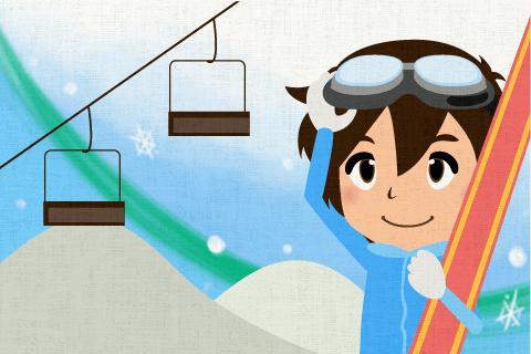 彼は毎年冬休みにスキーに行っている。の英作文
