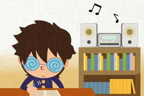 彼はたまに音楽を聴きながら勉強している。の英作文