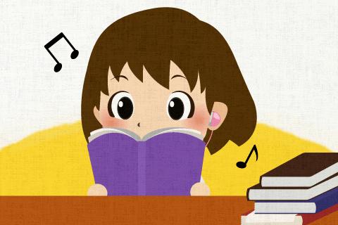 私は音楽を聴いていると、読書に集中できます。の英作文