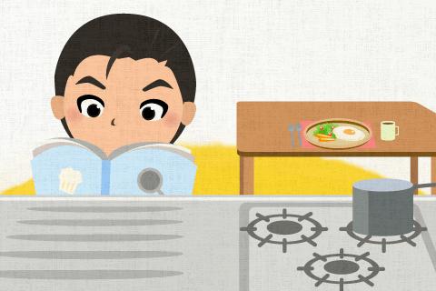 彼は時々朝食前に台所で勉強します。の英作文