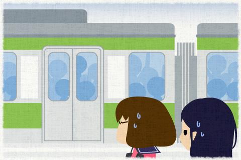 列車が到着した時、私達は30分近く待ち続けていた。の英作文