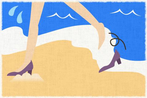 君は海辺にハイヒールを履いて行かない方がいい。の英作文