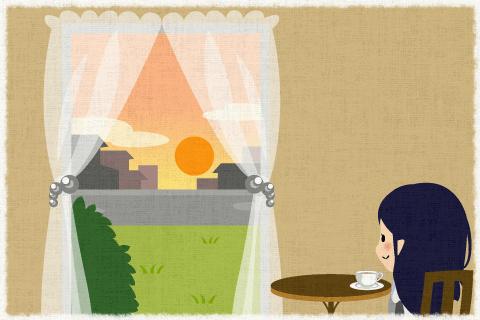 アンナ(Anna)は紅茶を飲みながら夕日を眺めていました。の英作文